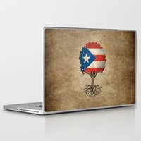 puerto rico Laptop & iPad Skins featuring Vintage Tree of Life with Flag of Puerto Rico by Jeff Bartels