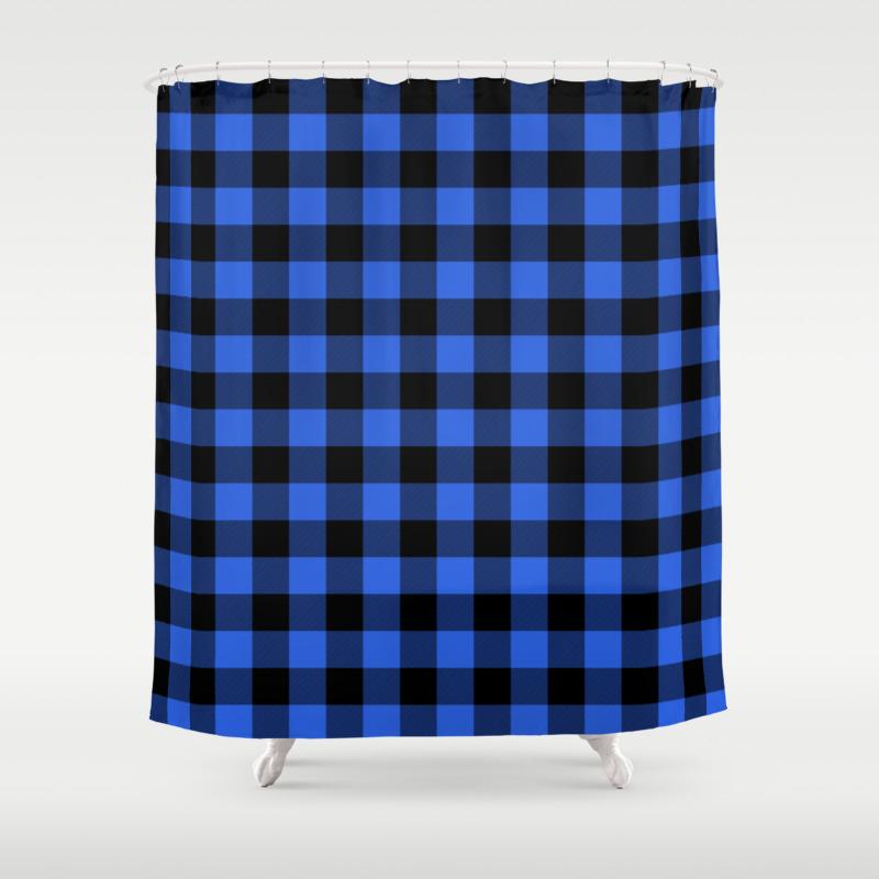 Royal Blue And Black Lumberjack Buffalo Plaid Fabric Shower Curtain