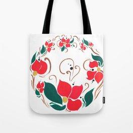 Redflower wreath Tote Bag