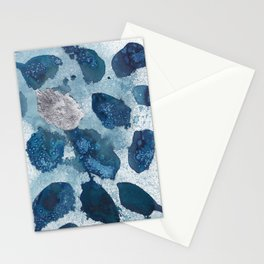 Abstract blue free form shapes no. 1 Stationery Cards