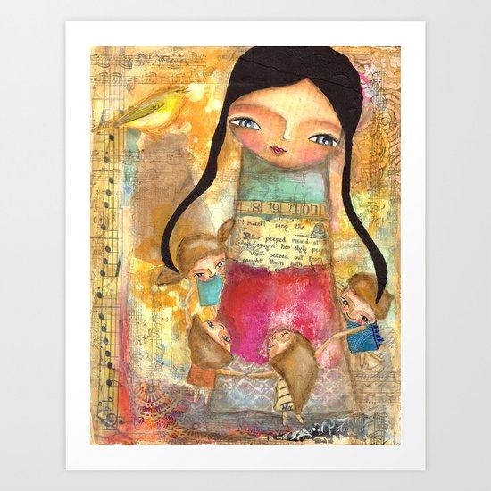 Music - teacher and children Art Print