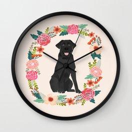 black lab floral wreath flowers dog breed gifts labrador retriever Wall Clock
