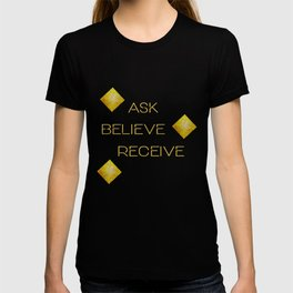 Ask believe receive beige tan marble and gold squares abstract typography design T-shirt