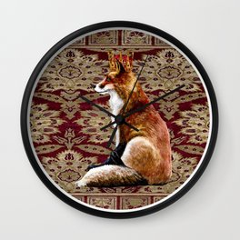 The Fox King - Mughal Textile II Wall Clock