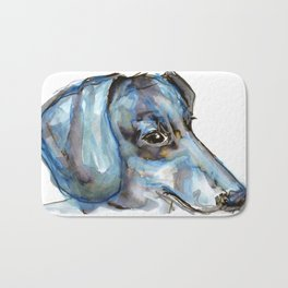 Dachshund with blues and silver Bath Mat