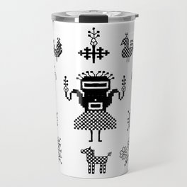 folk embroidery, Collection of flowers, birds, peacocks, horse, man, geometric ornaments, symbols e Travel Mug