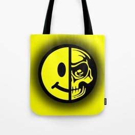 Smiley Face Skull Yellow Shadow Tote Bag