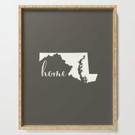 Maryland is Home - White on Charcoal Serving Tray