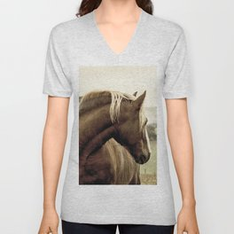 brown horse on the hill Unisex V-Neck