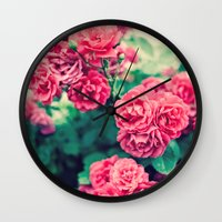 flora Wall Clocks featuring Flora by Laura Ruth