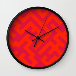 Scarlet Red and Crimson Red Diagonal Labyrinth Wall Clock