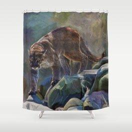 The Mountain King - Cougar Wildlife Art Shower Curtain