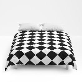 SMALL BLACK AND WHITE HARLEQUIN DIAMOND PATTERN Comforters