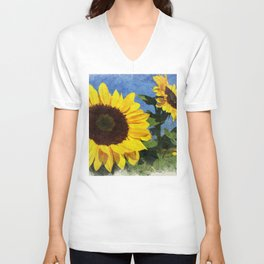 Mammoth Sunflowers Reaching to the Sun Unisex V-Neck
