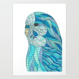 'Stained Glass Budgie' Ombre Blue Line work Geometric Illustrated Budgie Art Print