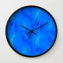 Pattern of neon feathers and leaves on a blue background. Wall Clock