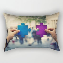 connecting puzzle pieces Rectangular Pillow