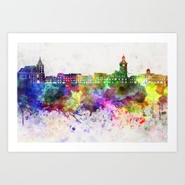 Brasov skyline in watercolor background Art Print