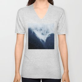 Mountaintop Enshrouded In Comforting Blankets of Fog Unisex V-Neck