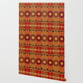 Orange flower pattern daisy Wallpaper