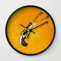top gun Wall Clocks featuring gun  by mark ashkenazi