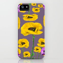 LILAC ANEMONES YELLOW POPPY FLOWERS ON GREY iPhone Case