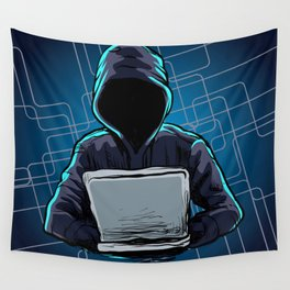 Computer hacker spread a net Wall Tapestry