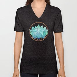 Modern Blue Succulent with Metallic Accents Unisex V-Neck