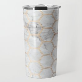 Geometric Honeycomb Pattern - Marble & Rose Gold #358 Travel Mug