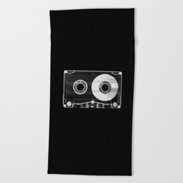 Black and White Retro 80's Cassette Vintage Eighties Technology Art Print Wall Decor from 1980's Beach Towel