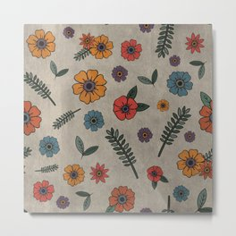 Flower Pattern (GRAY) Metal Print
