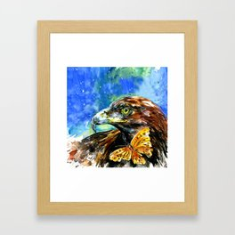 Golden Eagle And Butterfly by Kathy Morton Stanion Framed Art Print