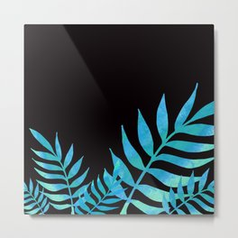 Blue watercolor leaves Metal Print