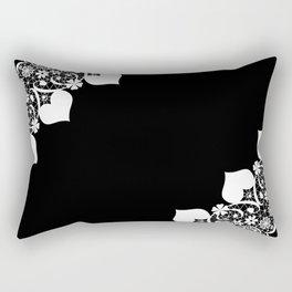 Retro . White lace on a black background . Rectangular Pillow