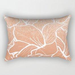 Modern copper tan terracotta glitter ombre color block white floral pattern illustration Rectangular Pillow