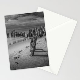 Footprints and Pilings on the Beach in Black and White at Kirk Park by Grand Haven Michigan Stationery Cards