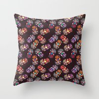 mucha Throw Pillows featuring mucha muchacha by Elminimal