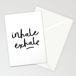 Inhale Exhale black and white contemporary minimalism typography print home wall decor bedroom Stationery Cards