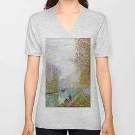 River Seine, Autumn, Paris, France by Francis Picabia Unisex V-Neck