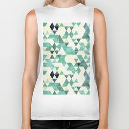 Abstract Green Triangles, Watercolor Pattern Biker Tank