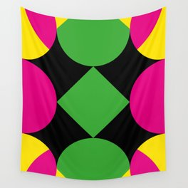 A green square being touched by two half-circles, surrounded by a Yellow Veil. Wall Tapestry