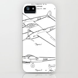 Lockheed P-31 Airplane Patent - Lightning Aircraft Art - Black And White iPhone Case