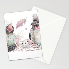 Spring crows illustration Stationery Cards