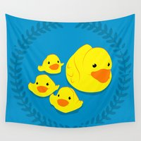ducks Wall Tapestries featuring Rubber Ducks by Horsethief Art Collective