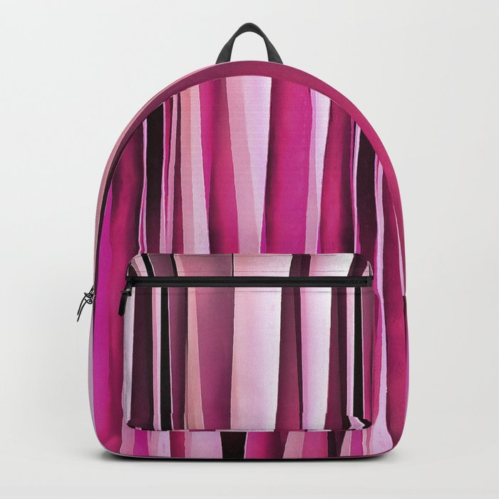 Rose Wine and Burgundy Stripy Lines Pattern Backpack