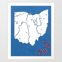 ohio state Art Prints featuring Ohio State Map by Finlay McNevin