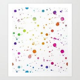 Rainbow Bright Pastel Watercolor Drops, Splatters and Dribbles Art Print