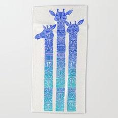 Giraffes – Blue Ombré Beach Towel