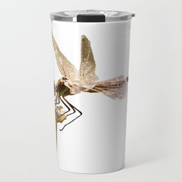 Dragonfly Resting On Seed Head Isolated Travel Mug