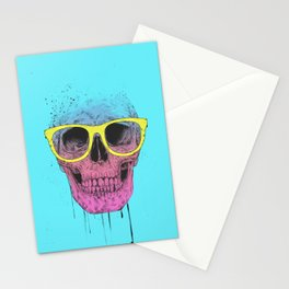 Pop art skull with glasses Stationery Cards